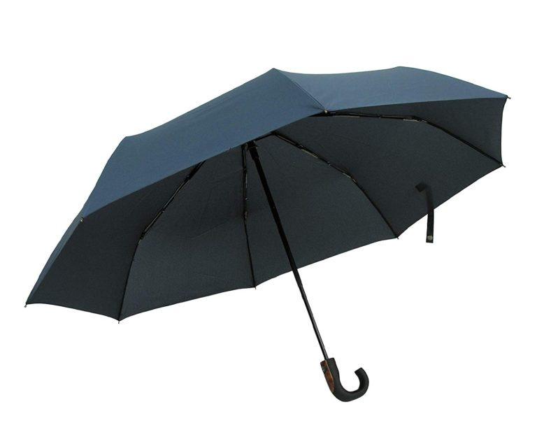 D70 自動開閉 折りたたみ傘 晴雨兼用 撥水加工 UVカット 耐強風 軽量 500g 収納ポーチ付き (紺)